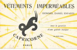 BU 1574 -/  BUVARD    VETEMENTS IMPERMEABLES  CAPRICORNE  PARIS - Textile & Clothing
