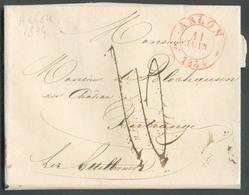 LAC D'ARLON (càd Rouge) Le 11 Janvier 1834 Vers Bitrange Lez Ettelbruck.  TB Destination; Port '10' (verso : 15 Cents). - 1830-1849 (Independent Belgium)