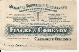 Calendrier 1911 Fiacre Et Cohendy Mercerie Bonneterie  Chaussures Rue Fontgiève Clermont Ferrand - Calendars