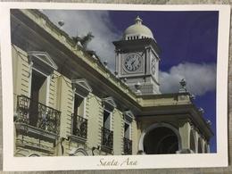 Circulated Postcard El Salvador 2012 Church , Clock  , ( Firefighter Stamps ) - Salvador