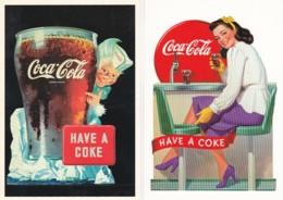 19547Coca Cola 2 Kaarten (REPRO)(zie Hoeken En Randen) - Publicidad