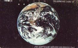 Télécarte Japon *  ESPACE (1010)  GLOBE * SATELLITE * TERRESTRE * MAPPEMONDE Telefonkarte Phonecard JAPAN - Espace