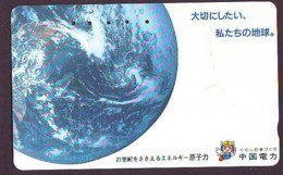 Télécarte Japon * 350-1363 * ESPACE (1013)  GLOBE * SATELLITE * TERRESTRE * MAPPEMONDE Telefonkarte Phonecard JAPAN - Espace