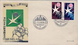"""1958-Spagna S.2v.""""Expo Di Bruxelles""""su Fdc Illustrata - 1931-Oggi: 2. Rep. - ... Juan Carlos I"""
