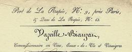 PARIS 1826 RARE FACTURE VAZEILLE-BIAUZAT Port De La Rapée Quai De La Rapée Bercy Vins Eaux De Vie Voir SCANS+HISTORIQUE - France