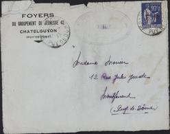 Guerre 40 Foyers Groupement Jeunesse La Marne Chatelguyon 63 YT FM N°9 Paix Cachet Chantier La Marne 1943 Peu Lisible - WW II