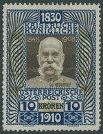 ÖSTERREICH 1867-1918 177 *, 1910, 10 Kr. 80. Geburtstag, Falzrest, Pracht, Mi. 220.- - Austria