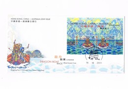 Hong Kong - Official Souvenir Cover - Dragon Boat Race - Australian Joint Issue - 2001 - 1997-... Région Administrative Chinoise