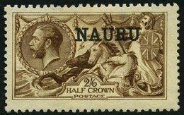 NAURU 12II *, 1916, 2 Sh. 6 P. Dunkelbraun, De La Rue-Druck (SG Nr. 19), Gummireste, Pracht, SG 600 £ - Nauru
