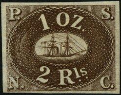 PERU 2P (*), 1857, 2 R., Probedruck In Dunkelbraun, Ohne Gummi, Pracht - Peru
