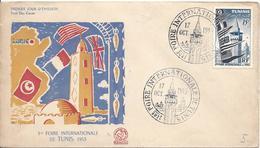 FDC Foire Internationale De Tunis Minaret Des Mosquéeq 15F N°362 Drapeau Commerce - Covers & Documents