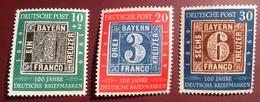 BRD 1949 100 Jahre Deutsche Briefmarken Michel 113-115 ** Luxus (stamps Bayern Auf Briefmarken RFA BUND Deutschland 1849 - [7] Federal Republic