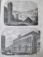 Gravure 1864  LE PALAIS  QUIRINAL  INTERIEUR COLISEE  ANCIEN PALAIS DES CESARS   AQUEDUC CLAUDE   ROME ARC TITUS - Vecchi Documenti