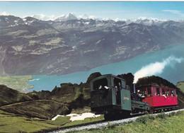 Postcard Steam Train Brienz Rothorn Bahn Switzerland Hotel Rothorn Kulm Backstamp My Ref  B23265 - Trains