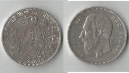 BELGIQUE 5 FRANCS 1873 ARGENT - 1865-1909: Leopold II