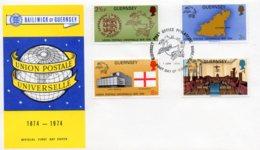 1974 Universal Postal Union Set FDC - Guernsey