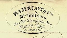 PARIS 1834 FACTURE Expédiée Par La Diligence +TEXTE SIGNE RAMELOT Marchands Tailleurs Paris B.E.  VOIR SCANS - France
