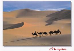 Postcard Mongolia Camel Train PU 2003  My Ref  B23268 - Mongolia