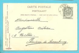 53 Op Kaart Met Stempel OSTENDE MANDATS (rare Op Zegel) - 1893-1907 Armarios