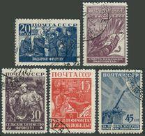 Russia 873-877,CTO.Michel 842-846. WW II Scenes,1943.Women Workers,soldiers,Tank. - WW2