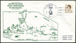 CAROLINE ISLANDS 1981 KOSRAE TT Postmark US Trust Territory Pictorial Cover MAP Landkarte Micronesia Kusaie Island > USA - Micronesia