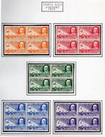 Costa Rica 1952 Queen Isabella + Columbus Caravels - BLOCKS Of 4 New With Gum Scott C211-C215 - Costa Rica
