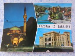 Bosnia Hercegovina - Unused Postcard - Sarajevo - River Bridge Mosque Minaret - Bosnie-Herzegovine