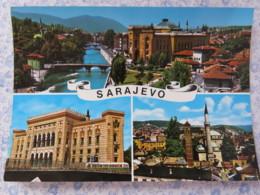 Bosnia Hercegovina - Unused Postcard - Sarajevo - River Bridge Mosque Church Palace - Bosnie-Herzegovine