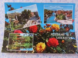 Bosnia Hercegovina - Unused Postcard - Sarajevo - River Bridges Mosque Roses Flowers - Bosnie-Herzegovine