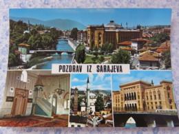 Bosnia Hercegovina - Unused Postcard - Sarajevo - River Bridges Mosque Palace Church - Bosnie-Herzegovine