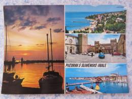 Slovenia - Unused Postcard - Piran - Koper - Portoroz - Multiview - Coast Boats - Castle - Slovénie