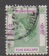 Hong Kong Scott 197 1954 Queen Elizabeth II $ 5 Green And Violet,used - Usati