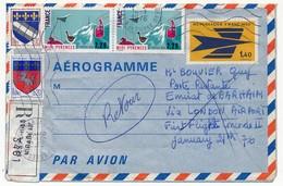 FRANCE - Aérogramme 1,40 Oiseau (Logo De La Poste) + Affr Compl. - Cachets Arrivée BAHRAIN Et LONDRES 1976 - Postal Stamped Stationery