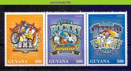 NctA271 WALT DISNEY SPORTS SUPERSTARS GOOFY DONALD BICYCLE BIKE ICEHOCKEY SURFING GUYANA 1996 PF/MNH - Disney