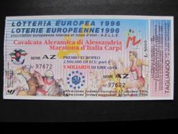 BIGLIETTO LOTTERIA EUROPEA 1996 - COMPLETO DI TAGLIANDO FDS - Biglietti Della Lotteria