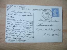 Carnac Plage Recette Auxiliaire Obliteration Sur Lettre - Marcophilie (Lettres)