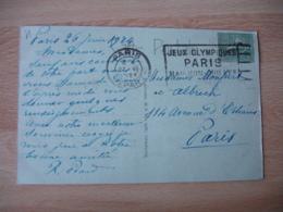 27.6.1924 Paris Depart Jeux Olympiques 1924 Flamme Flier Sur Lettre - Marcophilie (Lettres)