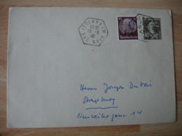 Itteneim Timbre Mixte 1940  Occupation Alsace Guerre 39.45 Timbre Yt 12 Et Semeuse - Marcophilie (Lettres)