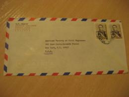 COCHABAMBA 1969 To New York USA 2 Stamp Cancel Air Mail Cover BOLIVIA - Bolivia