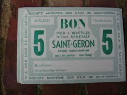 Lot De 17 Bon Echange 5 Bouteille Eau Minerale Saint Geron - France