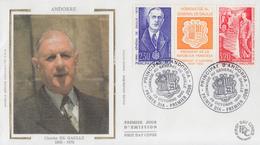 Enveloppe  FDC  1er  Jour   ANDORRE   Triptyque   Hommage  Au  Général   DE  GAULLE   1990 - FDC