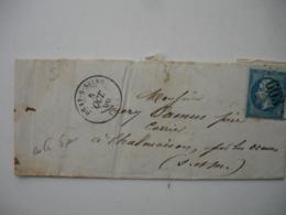 Gros Chiffre G C 603 Bray Sur Seine   Cachet Type 17 Lettre Timbre Empire - Marcophilie (Lettres)