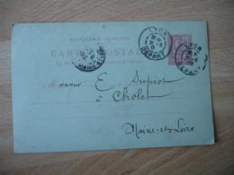 1902 Lyon Daguin Double Jumele Obliteration Sur Lettre Entier Postal - Poststempel (Briefe)