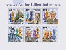 Guinea Bissau 2010 Chess - Tribute Andor Lilienthal, - Guinea-Bissau
