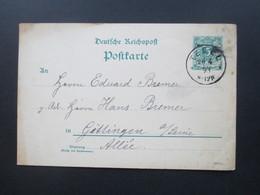 Deutsches Reich 20.4..1893 Ganzsache Stempel K1 Tegel Nach Göttingen Gesendet! - Brieven En Documenten