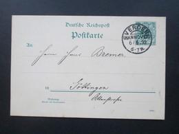 Deutsches Reich 1893 Ganzsache Kreisobersegmentstempel KOS Verden (Hannover) Nach Göttingen Gesendet! - Brieven En Documenten