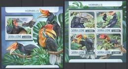 UU610 2017 SIERRA LEONE FAUNA BIRDS HORNBILLS KB+BL MNH - Oiseaux