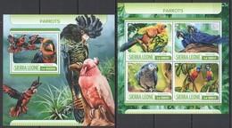 UU611 2017 SIERRA LEONE FAUNA BIRDS PARROTS KB+BL MNH - Perroquets & Tropicaux