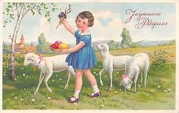 Joyeuses Pâques - Enfant - Oeufs - Mouton - Pasqua