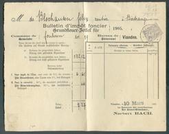 1c. Gris Obl. Dc VIANDEN Sur Bulletin D'impôt Foncier Du 14 Mars 1905 Commune De FOUHREN (TANDEL) -  13532 - 1895 Adolphe Right-hand Side